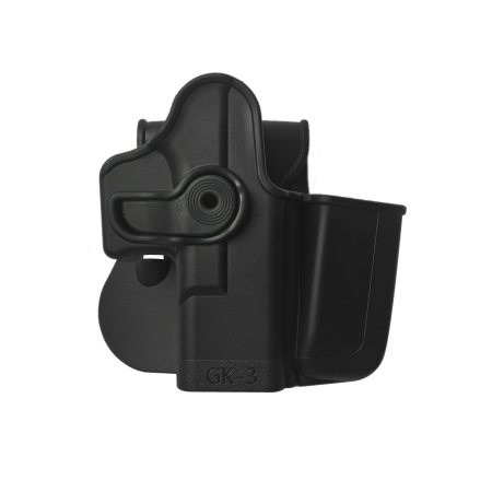 Polymer Retention Holster Level 2 with integrated magazine pouch for Glock 17/19/22/23/28/31/32/36