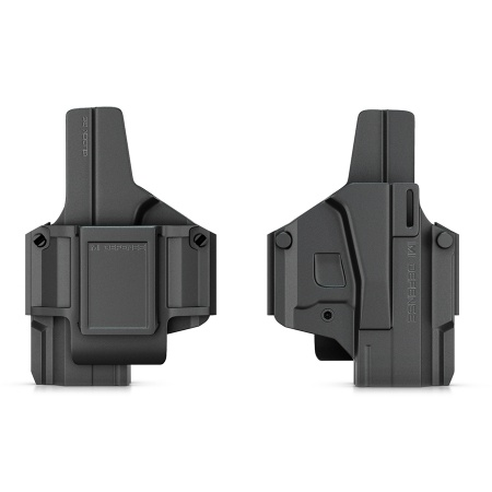 One holster - multiple missions. Revolutionary holster that can quickly be configured for left/ right hand, IWB, OWB, or an adjustable paddle holster